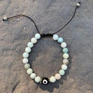 Amazonite Gemstone Evil Eye Bracelet - Handmade